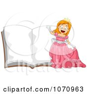 Clipart Princess Girl Over An Open Story Book Royalty Free Vector Illustration