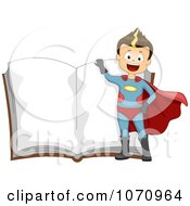 Clipart Super Hero Boy Over An Open Story Book Royalty Free Vector Illustration