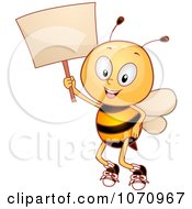 Clipart Bee Student Holding A Sign Royalty Free Vector Illustration