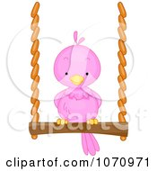 Clipart Pink Bird On A Swing Royalty Free Vector Illustration