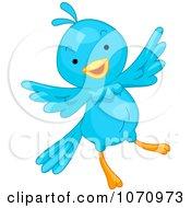Clipart Happy Blue Bird Flying Royalty Free Vector Illustration by BNP Design Studio