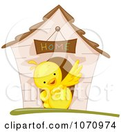 Clipart Yellow Bird Waving In Front Of A House Royalty Free Vector Illustration
