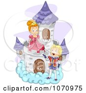 Clipart Fairy Tale Prince Talking To A Princess On A Cloud Castle Royalty Free Vector Illustration