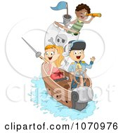 Clipart Pirate Children On A Ship Royalty Free Vector Illustration by BNP Design Studio