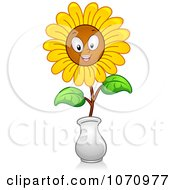 Clipart Happy Sunflower In A Face Royalty Free Vector Illustration