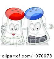Clipart Salt And Pepper Shakers With Arms Around Each Other Royalty Free Vector Illustration