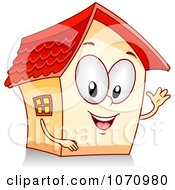 Clipart Waving House Character Royalty Free Vector Illustration