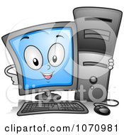 Clipart Computer Character Hugging A Tower Royalty Free Vector Illustration