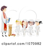 Clipart Girls Receiving Their First Communion Royalty Free Vector Illustration