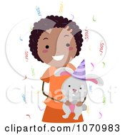 Clipart Birthday Girl Holding A Rabbit Royalty Free Vector Illustration