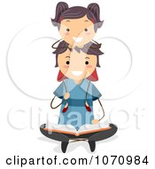 Clipart Girl Sitting On Her Fathers Shoulders As He Reads A Story Royalty Free Vector Illustration