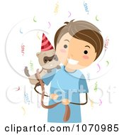 Clipart Birthday Boy Holding A Ferret Royalty Free Vector Illustration by BNP Design Studio