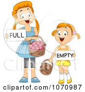 Clipart Girls Comparing Full And Empty Flower Baskets Royalty Free Vector Illustration