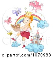 Clipart Girl Reading A Book And Imagining The Story Royalty Free Vector Illustration