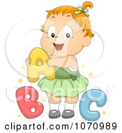Clipart Baby Girl With ABC Royalty Free Vector Illustration