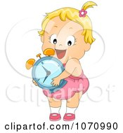 Clipart Baby Girl With An Alarm Clock Royalty Free Vector Illustration by BNP Design Studio