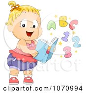 Clipart Baby Girl With A Learning Book Royalty Free Vector Illustration