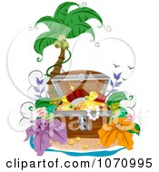 Clipart Treasure Chest Open On A Tropical Beach Royalty Free Vector Illustration