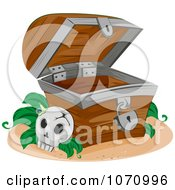 Clipart Skull By An Empty Treasure Chest Royalty Free Vector Illustration