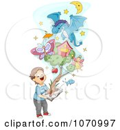 Clipart Boy Holding A Pop Up Book With Items Emerging From The Pages Royalty Free Vector Illustration