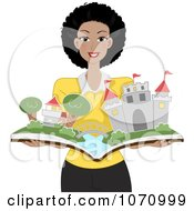 Clipart Happy Black Female Teacher Holding A Pop Up Story Book With A Castle Royalty Free Vector Illustration