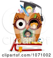 Clipart Kids In An Owl School House Royalty Free Vector Illustration
