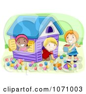 Clipart Preschool Kids Playing In A House Royalty Free Vector Illustration