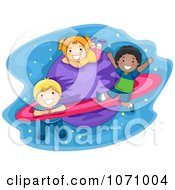 Clipart School Kids Playing On A Planet Royalty Free Vector Illustration