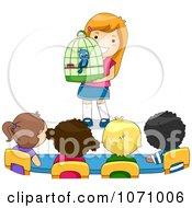 Clipart School Girl Sharing Her Pet Bird To Her Classmates Royalty Free Vector Illustration