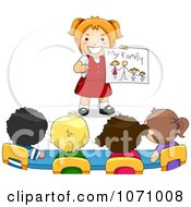 Clipart School Girl Sharing A Drawing Of Her Family Royalty Free Vector Illustration
