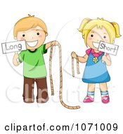 Clipart School Kids Holding Long And Short Ropes And Signs Royalty Free Vector Illustration
