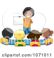 Clipart School Boy Presenting Something To His Classmates Royalty Free Vector Illustration