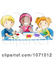 Clipart Group Of Preschoolers Coloring Royalty Free Vector Illustration