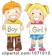 School Children Holding Boy And Girl Gender Signs