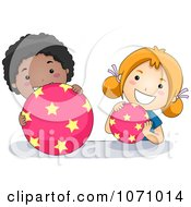 Clipart School Children Playing With Star Balls Royalty Free Vector Illustration