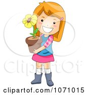 Clipart Happy Girl Holding A Potted Flower Royalty Free Vector Illustration