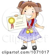 Clipart School Girl Holding A Certificate Royalty Free Vector Illustration