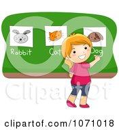Clipart School Girl Identifying Animals Royalty Free Vector Illustration