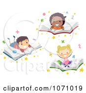 Clipart School Kids Resting On Books Royalty Free Vector Illustration