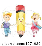 Clipart Students Holding Hands With A Pencil Royalty Free Vector Illustration