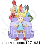 Clipart School Boy Carrying A Huge Backpack Royalty Free Vector Illustration
