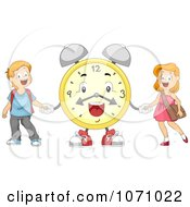 Clipart School Kids Holding Hands With An Alarm Clock Royalty Free Vector Illustration by BNP Design Studio