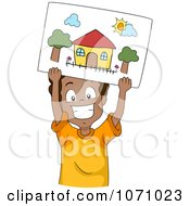 Clipart Happy Boy Holding Up A Drawing Of A House Royalty Free Vector Illustration