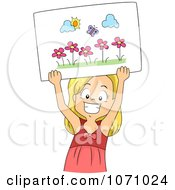 Clipart Happy Girl Holding Up A Drawing Of A Butterfly And Flowers Royalty Free Vector Illustration