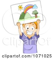 Clipart Happy Boy Holding Up A Drawing Of A Rainbow Royalty Free Vector Illustration