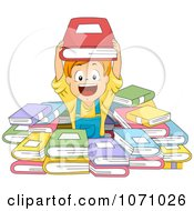 Clipart Happy Boy In A Pile Of Books Royalty Free Vector Illustration