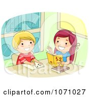 Clipart Girl Helping A Friend With Math Royalty Free Vector Illustration