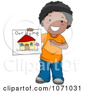 Clipart Black Boy Holding A Drawing Of His Family Home Royalty Free Vector Illustration