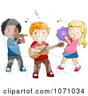 Clipart Preschool Kids Playing Instruments Royalty Free Vector Illustration
