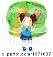 Clipart Girl Telling A Zoo Story Royalty Free Vector Illustration by BNP Design Studio